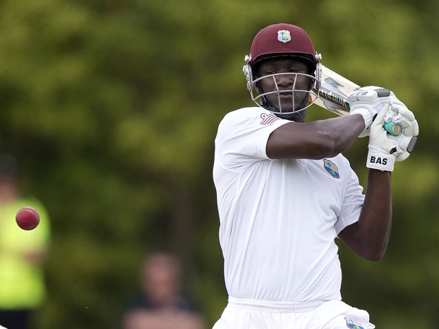 West Indies captain Darren Sammy plays a shot during day five of the first international cricket Test match between New Zealand and the West Indies at the University Oval in Dunedin on December 6, 2013