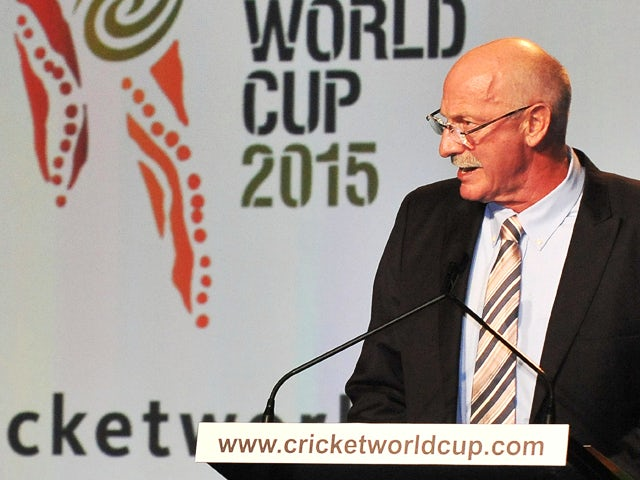 Former Australian fast-bowler Denis Lillee addresses guests at the official launch of the 2015 Cricket World Cup in Melbourne on July 30 2013