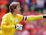 Former Manchester United goalkeeper Edwin van der Sar in action for Holland on June 04, 2006.