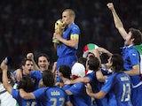 Italy captain Fabio Cannavaro lifts the World Cup on July 09, 2006.