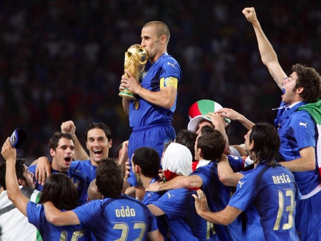Italy captain Fabio Cannavaro lifts the World Cup on July 09, 2006.