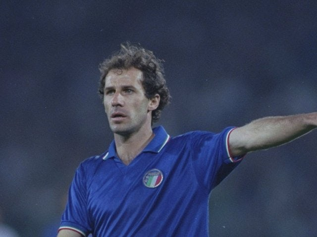 Franco Baresi in action for Italy in the World Cup on June 08, 1990.