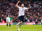 Frank Lampard celebrates scoring for England against the Republic of Ireland on May 29, 2013.