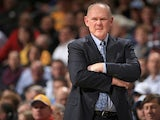 Head coach George Karl of the Denver Nuggets on the sidelines during his side's game against Los Angeles Clippers on