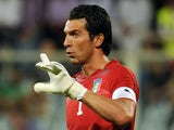 Juventus's Gianluigi Buffon keeps goal for Italy on September 06, 2011.