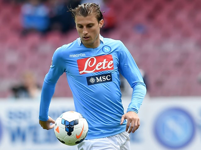 Henrique of Napoli in action during the Serie A match between SSC Napoli and SS Lazio at Stadio San Paolo on April 13, 2014