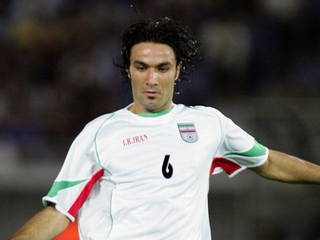 Javad Nekounam in action for Iran on August 17, 2005.