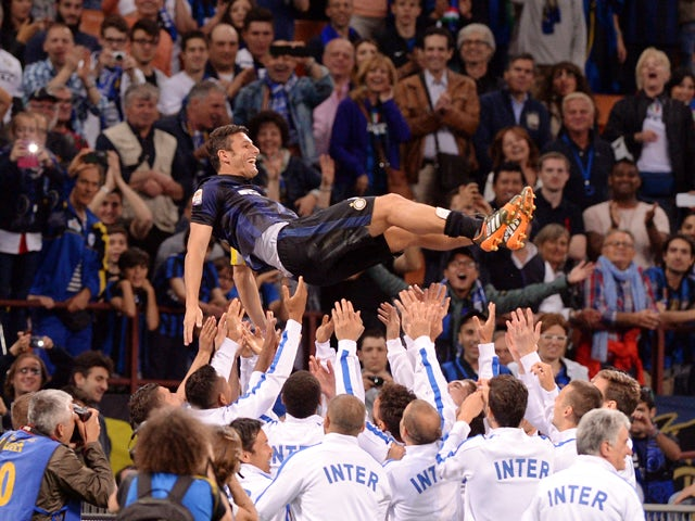 Captain of FC Inter Milano Javier Zanetti after the last match of his career at San Siro Stadium the Serie A match between FC Internazionale Milano and SS Lazio at San Siro Stadium on May 10, 2014
