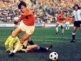 Johan Cruyff scores for Holland against Argentina on June 26, 1974.