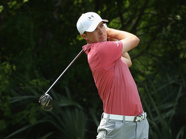 Jordan Spieth in action on the fifth hole during the final round of The Players Championship on May 11, 2014