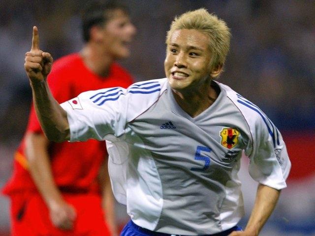 Former Arsenal midfielder Junichi Inamoto celebrates scoring for Japan against Belgium on June 04, 2002.