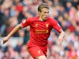 Lucas of Liverpool in action during the Barclays Premier League match between Liverpool and West Bromwich Albion at Anfield on October 26, 2013