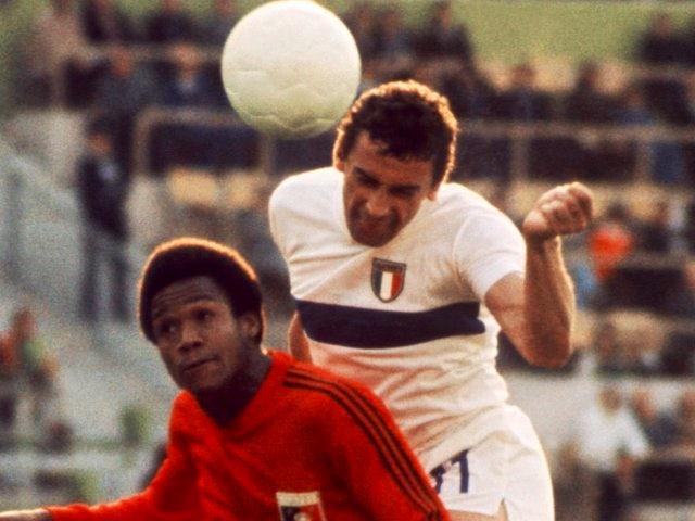 Italy's Luigi Riva jumps to win a header against Haiti on June 15, 1974.