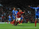 Manchester United's English striker James Wilson celebrates scoring the opening goal of the English Premier League football match between Manchester United and Hull City at Old Trafford in Manchester, northwest England on May 6, 2014