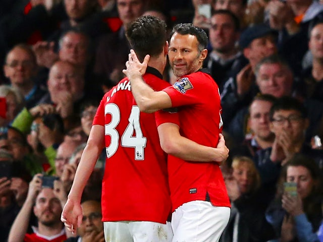 Manchester United Caretaker Manager Ryan Giggs comes on as a substitute during the Barclays Premier League match between Manchester United and Hull City at Old Trafford on May 6, 2014
