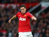 Tom Lawrence of Manchester United in action during the Barclays Premier League match between Manchester United and Hull City at Old Trafford on May 6, 2014