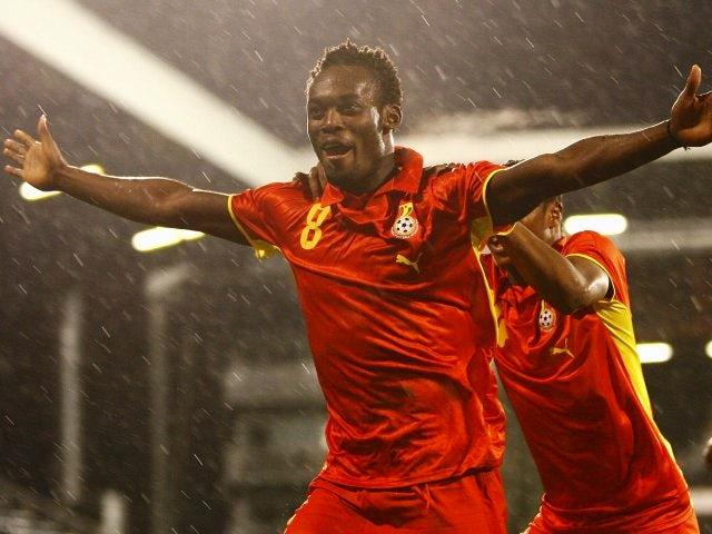 Michael Essien celebrates scoring for Ghana on March 26, 2008.