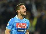 Dries Mertens of Napoli celebrates after scoring the opening goal during the Serie A match between SSC Napoli and Cagliari Calcio at Stadio San Paolo on May 6, 2014