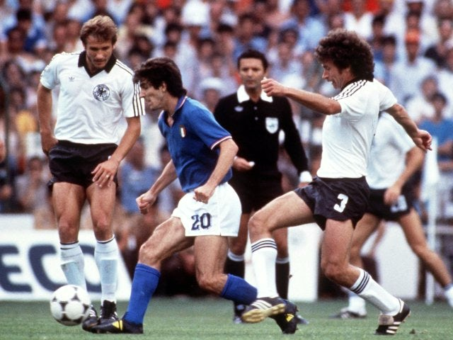 Italy's Paolo Rossi in action against Germany on July 07, 1982.