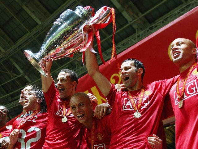 Manchester United Teammates Rio Ferdinand And Ryan Giggs Lift The Champions League Trophy On May 21