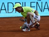 Roberto Bautista celebrates victory over Santiago Giraldo  in their quarter final Madrid Masters match on May 9, 2014
