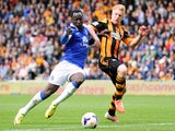 Romelu Lukaku of Everton takes on Paul McShane of Hull City during the Barclays Premier League match between Hull City and Everton at KC Stadium on May 11, 2014
