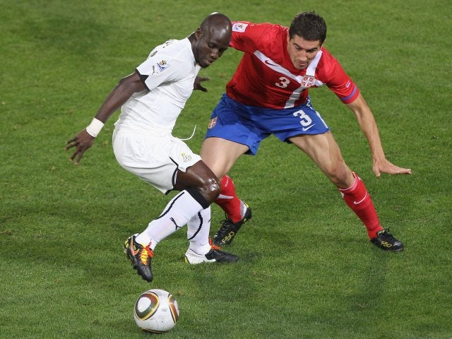 Midfielder Stephen Appiah in action for Ghana on June 13, 2010.