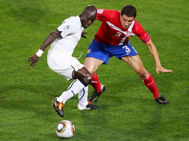Midfielder Stephen Appiah in action for Ghana on June 13, 2010.