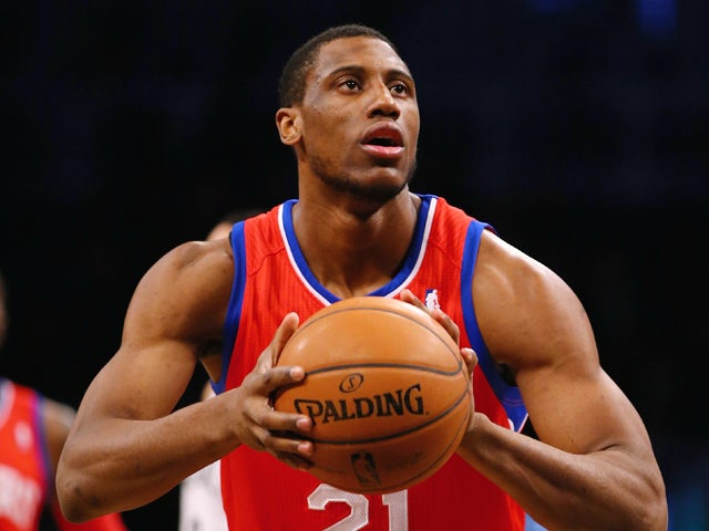 Thaddeus Young #21 of the Philadelphia 76ers in action against the Brooklyn Nets during their game at the Barclays Center on December 16, 2013