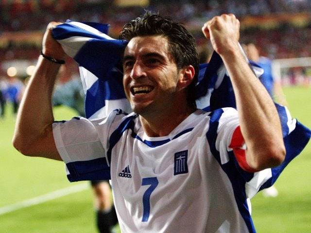 Midfielder Theodoros Zagorakis celebrates Greece winning the European Championships on July 04, 2004.