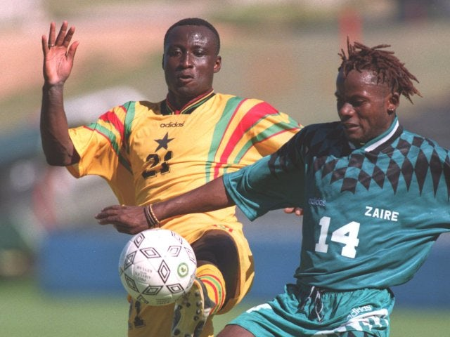 Former Leeds United striker Tony Yeboah in action for Ghana against Zaire on January 28, 1996.