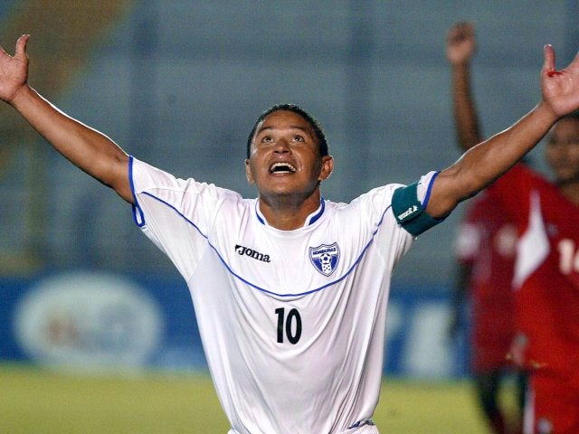 Wilmer Velasquez celebrates scoring for Honduras on February 25, 2005.