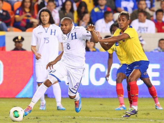 Stoke City midfielder Wilson Palacios in action for Honduras against Ecuador on November 19, 2013.