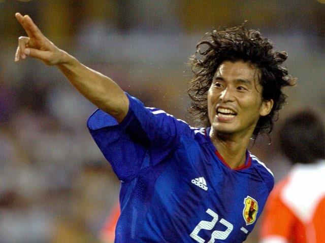 Yuji Nakazawa celebrates scoring for Japan on August 07, 2005.