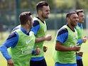 Arsenal's Carl Jenkinson, Alex Oxlade-Chamberlain, Jack Wilshere take part in training on May 14, 2014.