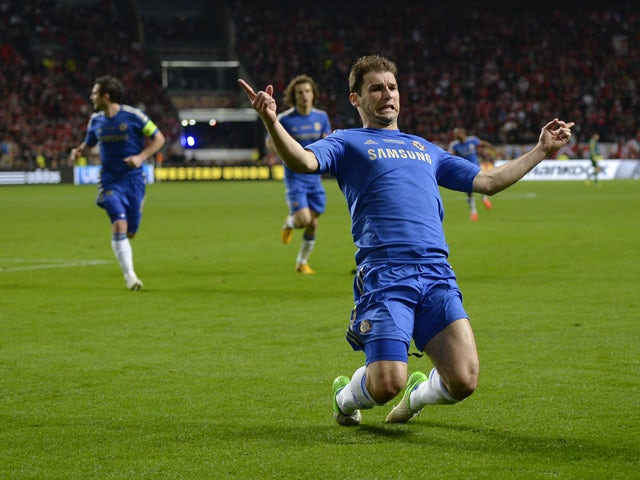 Chelsea's Serbian defender Branislav Ivanovic celebrates after scoring the second goal for his team during the UEFA Europa League final football match between Benfica and Chelsea on May 15, 2013