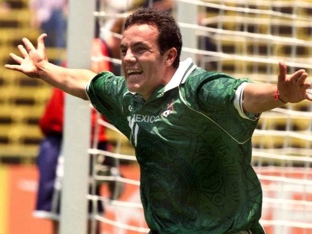 Cuauhtemoc Blanco celebrates scoring for Mexico on August 01, 1999.
