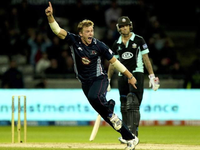 Northamptonshire's David Willey celebrates taking a wicket on August 17, 2013.