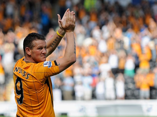 Dean Windass of Hull City applauds the fans during the Pre Season Friendly between Hull City and Aberdeen at the KC Stadium on August 9, 2009