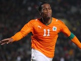 Didier Drogba celebrates scoring for Ivory Coast against Turkey on February 11, 2009.