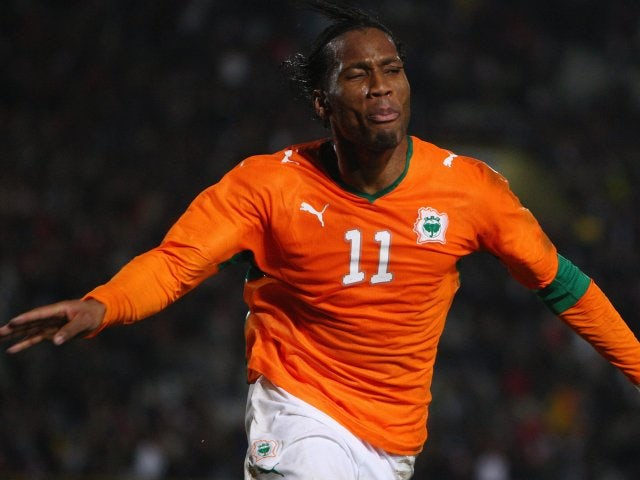 Didier Drogba celebrates scoring for Ivory Coast against Turkey on February 11, 2009.