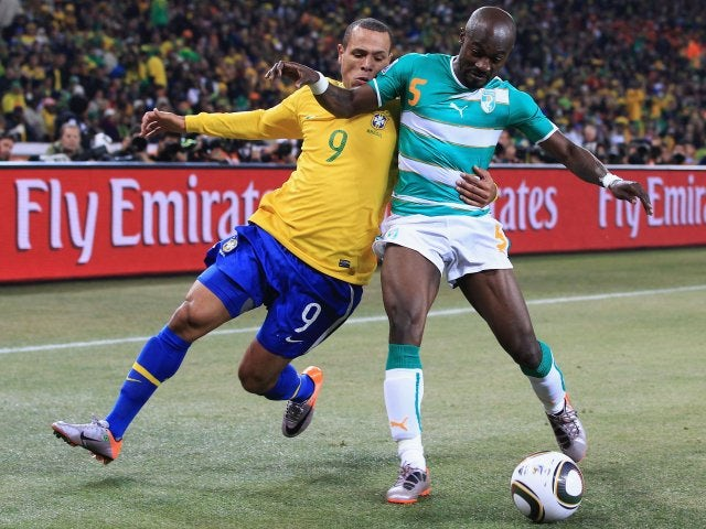 Former Tottenham Hotspur midfielder Didier Zakora in action for Ivory Coast against Brazil on June 20, 2010.