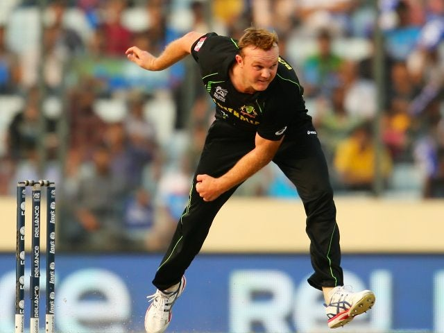 Australian bowler Doug Bollinger bounces down a delivery on March 23, 2014.