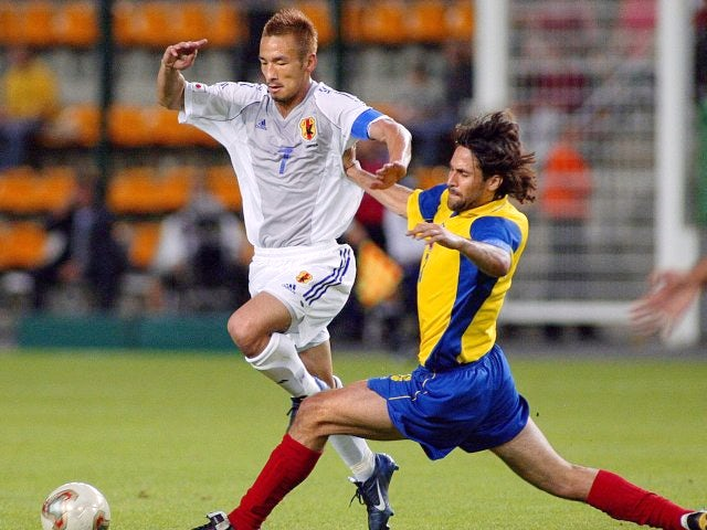 Hidetoshi Nakata in action for Japan against Ecuador on June 22, 2003.