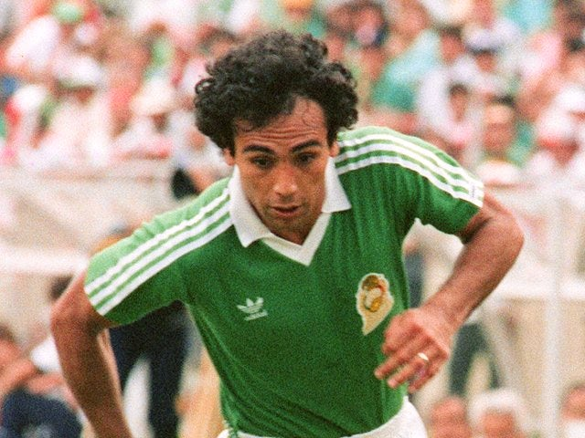 Mexico international Hugo Sanchez in action at the World Cup on June 21, 1986.