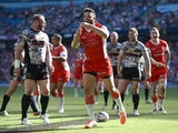 Kevin Larroyer of Hull Kingston Rovers celebrates scoring a first half try during the Super League match between Hull Kington Rovers and Hull FC at Etihad Stadium on May 17, 2014