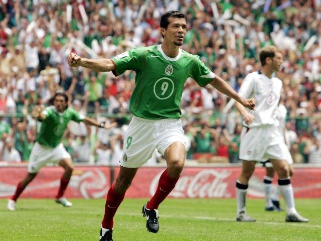 Jared Borgetti celebrates scoring for Mexico on March 27, 2005.