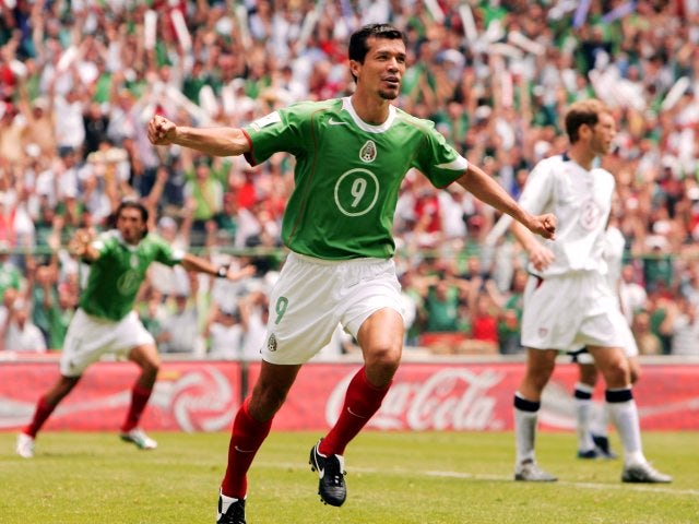 Jared Borgetti celebrates scoring for Mexico on March 27, 2005.
