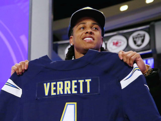 Jason Verrett of the TCU Horned Frogs poses with a jersey after he was picked #25 overall by the San Diego Chargers during the first round of the 2014 NFL Draft on May 8, 2014