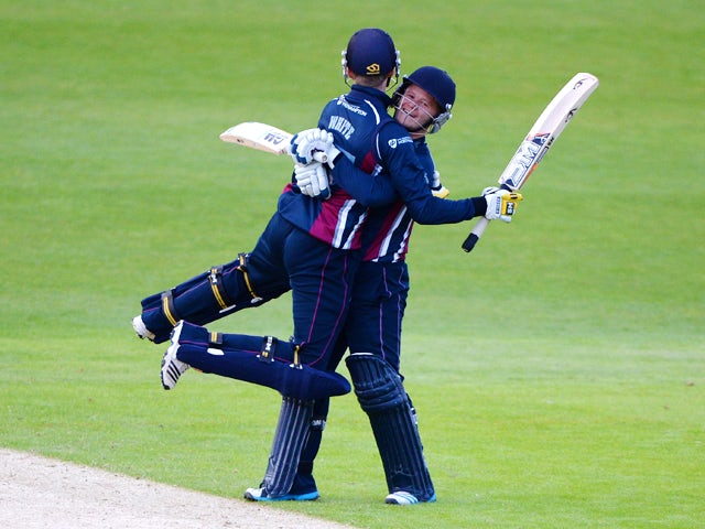 Graeme White and Ben Duckett of Northamptonshire celebrates winning the Natwest T20 Blast match between Yorkshire Vikings and Northants Steelbacks at Headingley on May 16, 2014